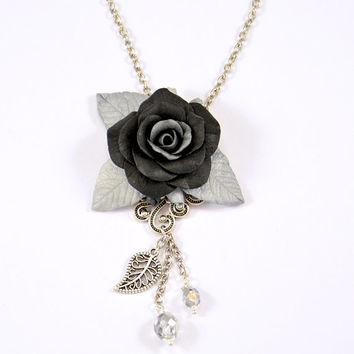 Black rose Pendant Necklace Polymer clay Floral Jewelry Black and Silver