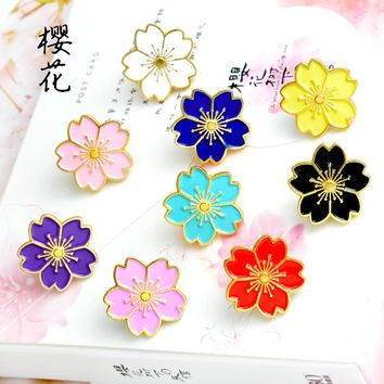Cherry Blossoms Flower Gold silver Brooch Pins Button Pins Denim Jacket Pin Badge for Bags Japanese Style Jewelry Gift for Girls