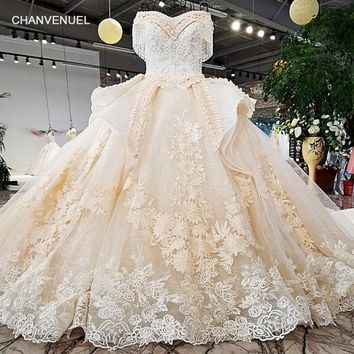 LS21887 off shoulder wedding dress appliques champagne lace latest sweetheart ball gown lace up wedding dresses bridal gown 2018