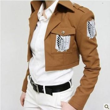 Cool Attack on Titan Fancy dress Anime   Scouting Legion Coat Jacket Uniform Suit Clothes Cosplay Costumes With Badge High Quality AT_90_11