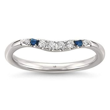 CERTIFIED 1/7 cttw 14k White Gold Blue Sapphire Baguette & Round Diamond Curved Wedding Band Ring (1/7 cttw, H-I, SI2-I1)