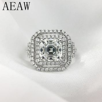 AEAW Solid Genuine 14K 585 White Gold Asscher Cut And Round Moissanite Engagement&Wedding Lab Diamond Ring Double Halo Ring