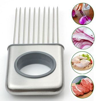Easy Onion Holder Slicer Vegetable Tools Tomato Cutter Stainless Steel Kitchen Gadgets Onion Chopper Kitchen Utensils