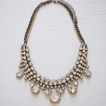 Crystal Drops Statement Necklace