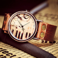 Woman Watch Leather Band Piano & Music