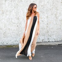 Spaghetti Straps Patchwork Loose Long Beach Dress