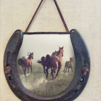 Rustic Horseshoe Wall Hanging, Horses Running, Perfectly Aged Patina, Leather Lace Accent, Wild Animals, Good Luck Western Decor
