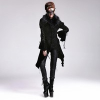 Devil Fashion Gothic Victorian Floral Pattern Wool Jacket Coats for Women Punk Autumn Winter Long Coats with Faux Fur Collar