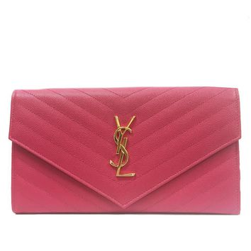 Saint Laurent YSL Monogram Grande Pink Leather Document Holder Wallet 358087