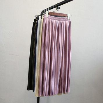 Alphalmoda New Arrival Women Pleated Midi Skirts Elastic Waist Solid Color Shining Fashion Satin Skirts In 6colors