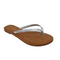 Forever Faithful Classic Strap Silver Flip Flops, Sandals