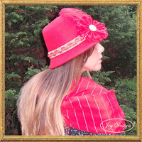 "Ensemble of Reconstructed Woman's Vintage Red Wool Cloche Hat with 36"" Silk Infinity Scarf"