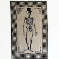 Skeleton Wall Hanging, Large Quilted Halloween Decoration, Mr. Bones