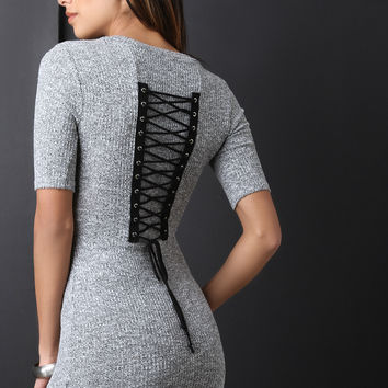 Marled Ribbed Knit Corset Back Mini Dress | UrbanOG