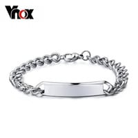 Vnox Promotion handmade stainless steel id bracelets bangle men jewelry high quality couple jewelry