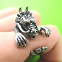 Large Dragon Animal Wrap Around Hug Ring in Silver - Size 4 to 9 Available