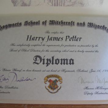 Wizarding School Diploma Personalized for a Witch or Wizard