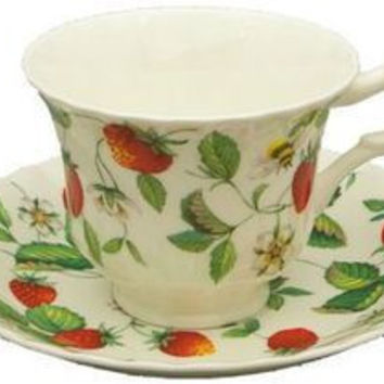2 Alpine Strawberry English Bone China Teacups