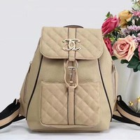 Chanel Metal Logo Women Casual School Bag Leather Backpack Apricot I-LLBPFSH