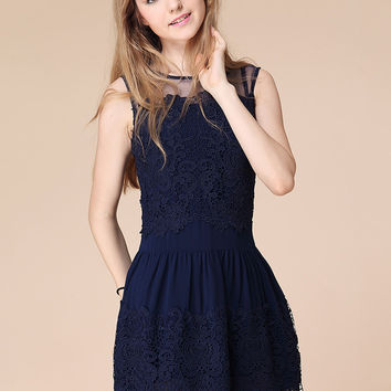 Sleeveless Crochet Lace Patchwork Mini Skater Dress