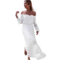 dress  runway womens fashion Sexy Strapless Off Shoulder Beach Wear Long Maxi Dresses Robe Femme White vestidos #23 SM6