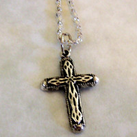 Small Cross Charm on a serpentine chain necklace