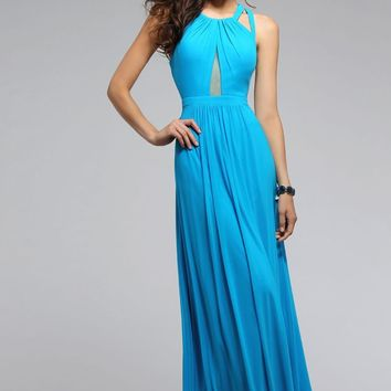 Faviana - 7741 Mesh Long Dress with Illusion Cut-Out