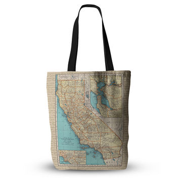 """Catherine Holcombe """"So Cal Surf Map"""" Beige Blue Everything Tote Bag"""
