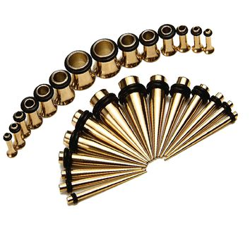 Taper Kit 28pc Gauges Plug Tunnels 12G, 10G, 8G, 6G, 4G, 2G, 0G Ear Stretching