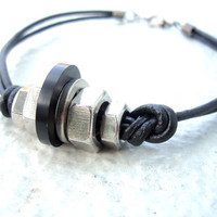 Mens Bracelet Mens Leather Bracelet Hardware Bracelet Found Object Jewelry