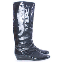 LOEFFLER RANDALL KNEE HIGH PATENT LEATHER BLACK BOOTS SIZE 10