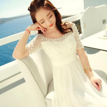 Bohemian Women dressading Chiffon Lace Slim Long Vacation Fairy Dresses White 3359