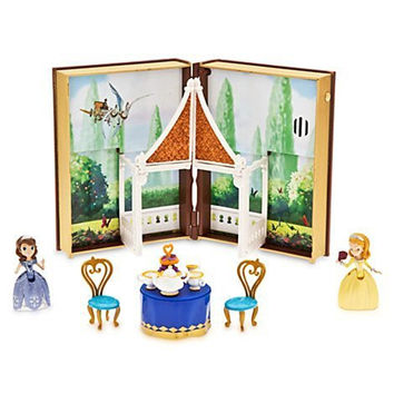 Disney Sofia Tea Garden Book Play Set with Book Case Sofia Figure, Amber Figure Tray with Tea Pot, Two Cups, Milk Jug, Cake Stand, Two Chairs, Table, and Press Button to Hear Royal Fun Song