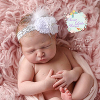 Flower Girl Headband, White Fancy Headband, Newborn Photo Prop, Feather Headband, Infant Hair Bow, Toddler Hair Clip, Elegant Hairband, Bows