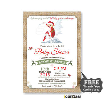 Christmas Fairy Baby Shower Invitation, Christmas Colors Baby Shower, Co-Ed Shower, Christmas Theme, Fairy Magic, Burlap, Rustic Shabby 108