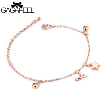 GAGAFEEL Stainless Steel Bracelets For Women Link Chain Trendy Bangle With Love Star Round Ball Silver/Rose Gold Color 14.5+6CM
