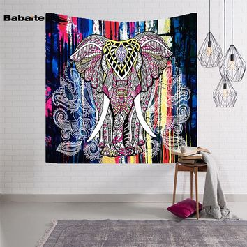 Babaite Elephant Tapestry Colored Printed Wall Hanging Door Curtain Mandala Tapestry Indian Carpet Creative Art