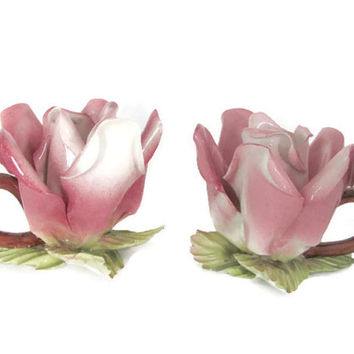 Vintage Rose Candle Holders, 1960's Capodimonte Porcelain Flower, Rose Candle Holders, Mid Century, Cottage Decor