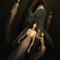 Shark and mermaids by Elysee Solodky