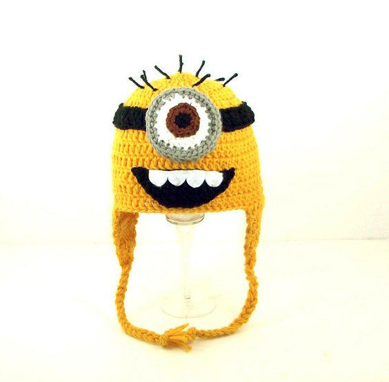 Minion Earflap Hat from Despicable Me 1 Eyed Crochet by CutieHats