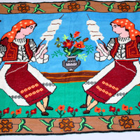 Vintage Large Peasant Tapestry Spinning Wool on Distaff Home Wall Decor Country Fabric