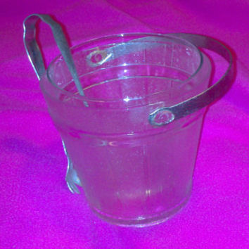 Vintage 1960s Mid Century Modern Glass Ice Bucket Barrel with Glass Inside Lining and Tongs