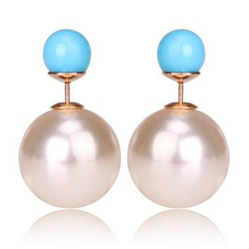 Gum Tee Mise en Style Tribal Earrings - Pearl White and Light Blue