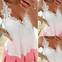 Fancyinn™ 2014 Fashion Summer Women Clothing White Lace Blouse Tank Top Deep V Sexy Women Blouses Blusas Femininas [7898211527]