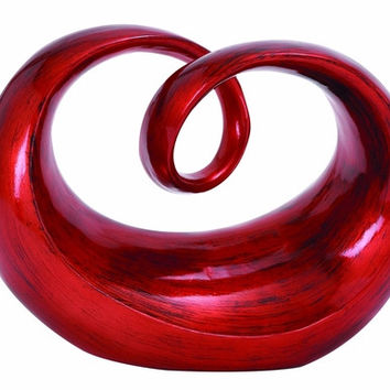 Benzara Contemporary Round Shaped Polystone Abstract Sculpture in Red