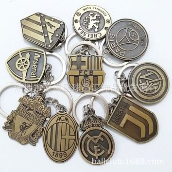 Football Club Logo CR7 C.RONALDO Messi Bale Salah Sanchez Keychain Gift Men Women Soccer Star Fans Keychain Toy Sport Liverpool
