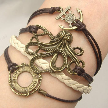 Bracelet- Octopus Bracelet, life ring & anchor bracelet -Antique Bronze Bracelet-Pirates of the Caribbean Bracelet - Braid Bracelet-F038