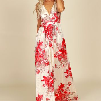 Floral Print Gown Red