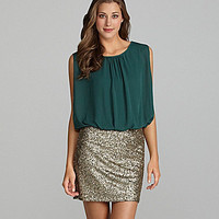 MM Couture by Miss Me Sleeveless Sequin-Skirt Dress | Dillards.com