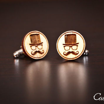 Wood Engraved Cufflinks: Mustache and Top Hat Gift for Him, Gift for Dad, Groomsmen, Bachelors, Bridesmaid, Fathers Day